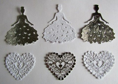 6 X DIE CUTS 3 X LADY IN BALL GOWN AND 3 X LACE EFFECT HEARTS IN SILVER & WHITE